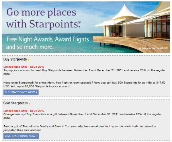 SPG Starpoints 20 Discount