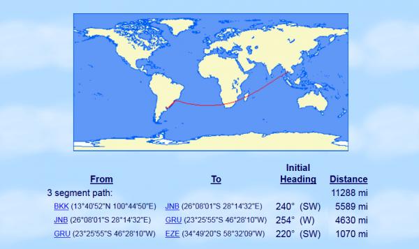 Avianca LifeMiles BKK-JNB-GRU-EZE