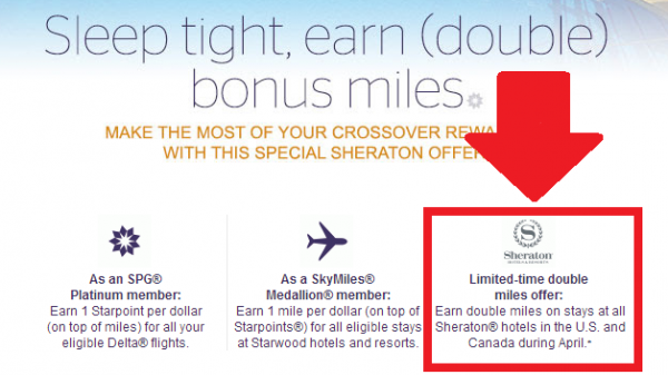 SPG Crossover Rewards Double Delta Miles Sheraton Stays April 2014