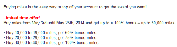 US Airways Buy Gift Dividend Miles May 2014 Offer Table