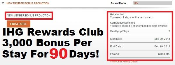 You may only earn this bonus once for a maximum amount of 1, IHG ® Rewards Club bonus points. Offer may not be combinable with other IHG Rewards Club Dining bonuses and each qualifying visit can only apply toward a single bonus, as determined by IHG Rewards Club Dining.