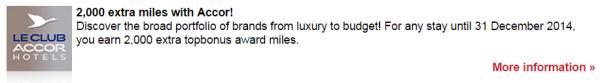 Le Club Accorhotels Airberlin Topbonus 2,000 Miles Fall 2014