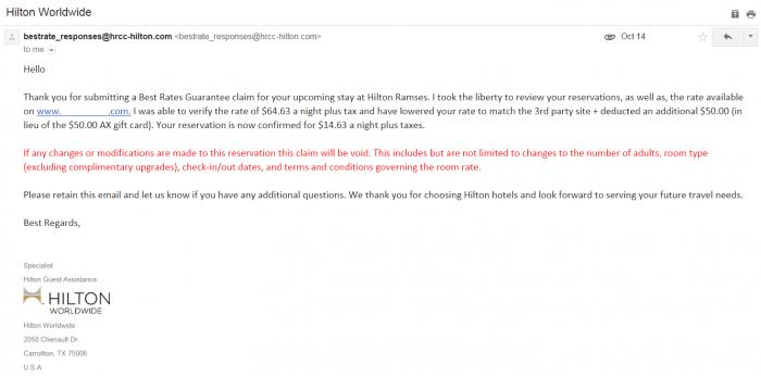 Hilton HHonors Best Rate Guarantee Hilton.com Reply