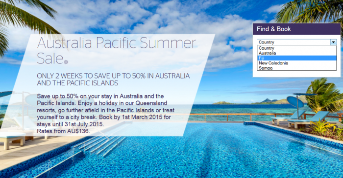 Starwood Australia & Pacific Up To 50 Percent Off Limited TIme Sale February 2015