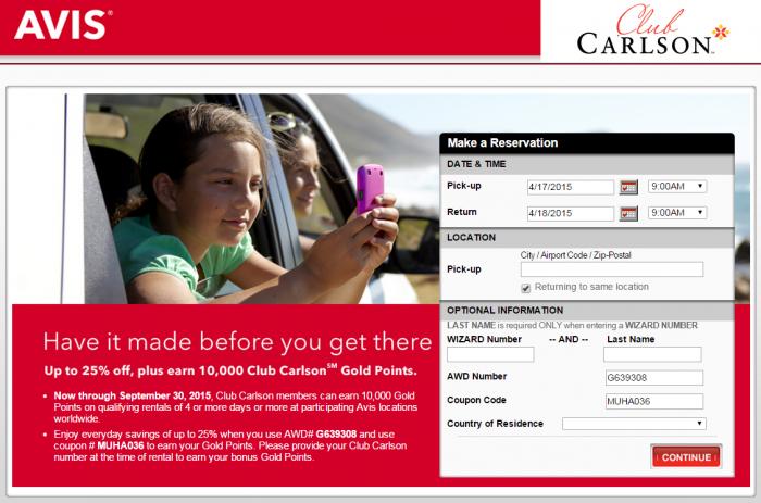 Club Carlson 10,000 Bonus Points Avis Rentals Until September 30 2015