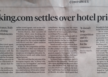 Financial Times Booking.com in European settlement over hotel prices