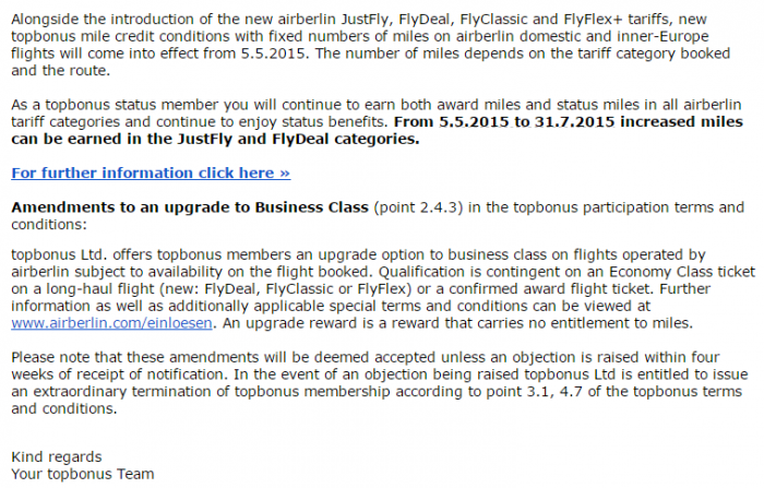 Airberlin Topbonus Miles Earnings Effective May 5 2015 Email Text