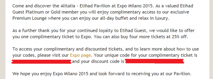 Etihad Airways Etihad Guest Expo Milano 2015 Text