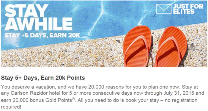 Club Carlson 20,000 Bonus Points Five Nights Stay By July 31 2015