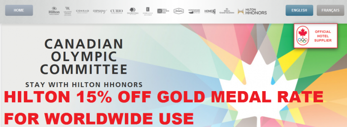 Hilton HHonors 15 Percent Gold Medal Rate