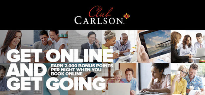 CLub Carlson 2,000 Bonus Points Online App Booking July 7 September 27 2015