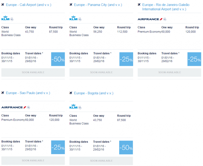 Air France-KLM Flying Blue Promo Awards November 2015 Central & South America 1