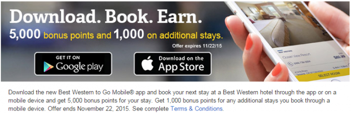 Best Western Rewards 5,000 Bonus Points First Mobile App Bookings By November 22 2015