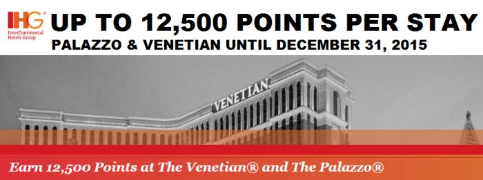 IHG Rewards Club Venetian Palazzo 12500 Bonus Points Offer Until December 31 2015