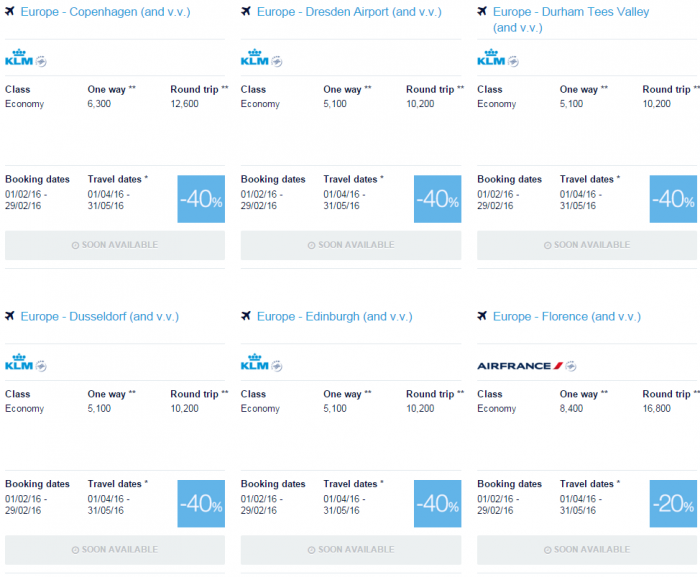 Air France-KLM Flying Blue Promo Awards February 2016 For Travel April & May Europe Specials 5
