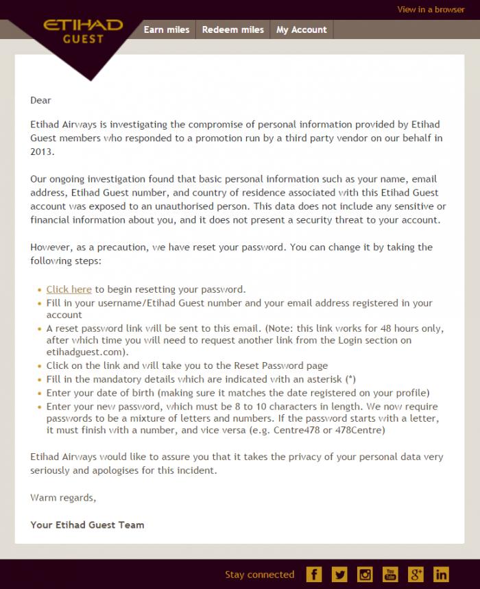 Etihad Airways Guest Info Compromised