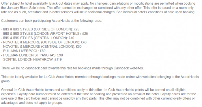 Le Club AccorHotels UK & Ireland Fixed Price Sale For Stays February 5 - April 4 2016 Terms