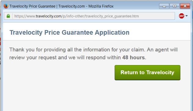 Travelocity Best Price Guarantee Confirmation