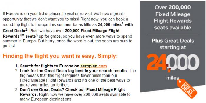 Air Canada Aeroplan Europe Summer 2016 Promo Text
