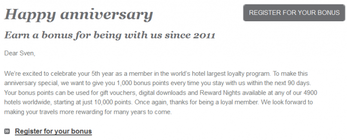 IHG Rewards Club Anniversary Bonus 1,000 Bonus Points For 90 Days