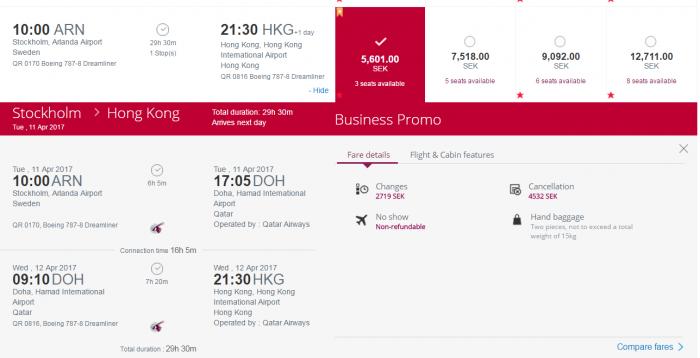 Qatar Airways Privilege Club Quintuple Miles One Day Only Travel Festival ARN-HKG OB
