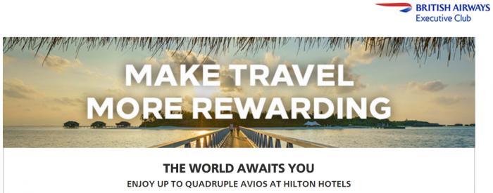 Hilton Honors British Airways Executive Club Quadruple Avios February 1 - April 30 2017