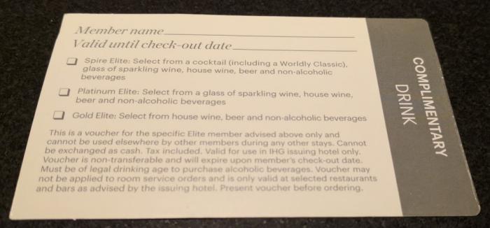 IHG Rewards Club Complimentary Drink Voucher Back