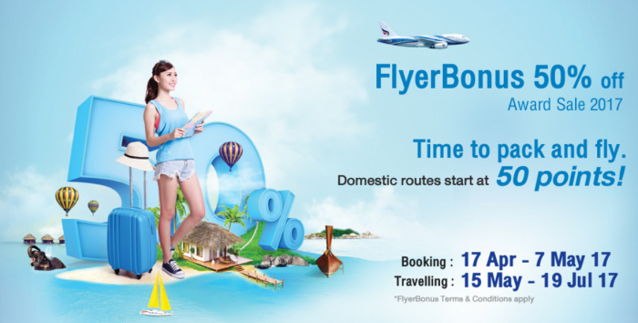 Bangkok Airways FlyerBonus 50 Percent Award Sale Spring 2017