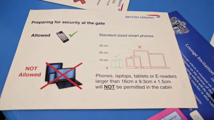 British Airways Electronics Ban Cairo Leaflet 2