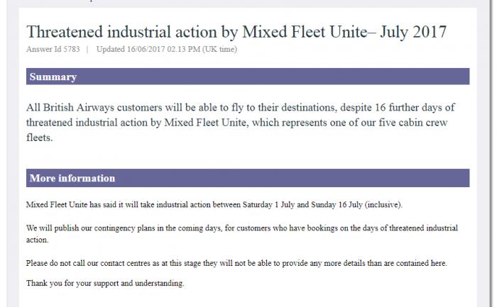 BA Strike Announcement