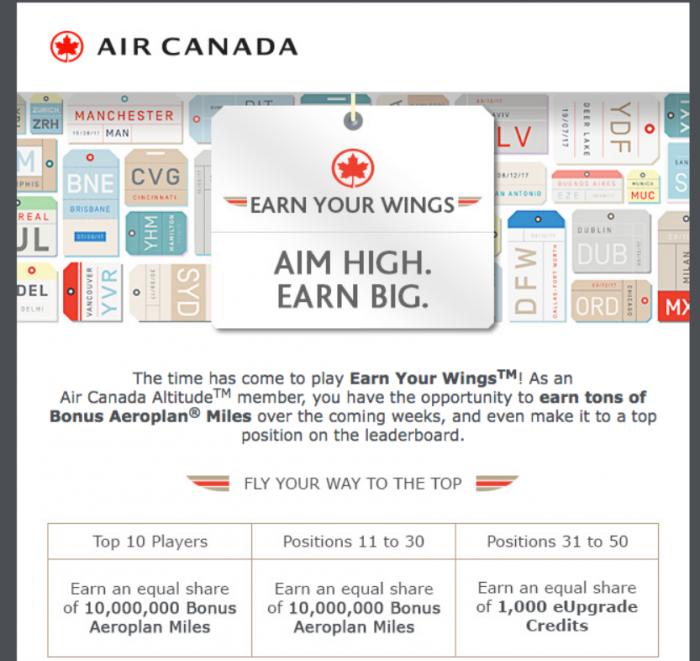 Air Canada Aeroplan Earn Your Wings 2017