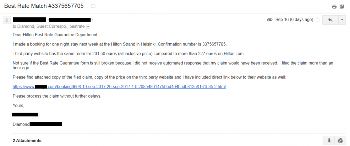 Hilton Best Rate Guarantee Email
