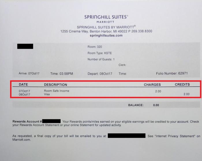 Marriott Rewards Room Safe Income